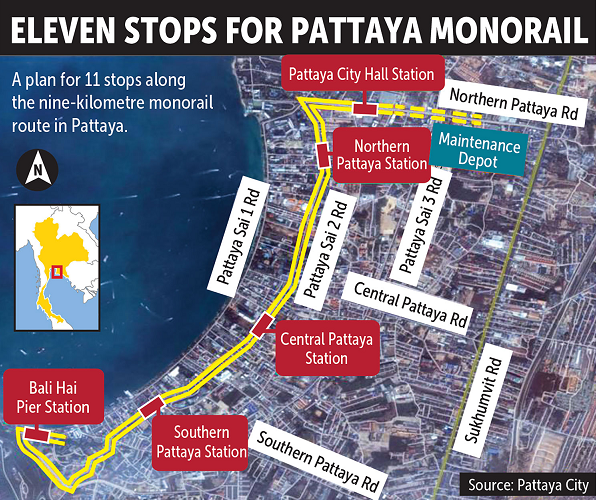 Pattaya City unveils plans for nine-kilometre monorail